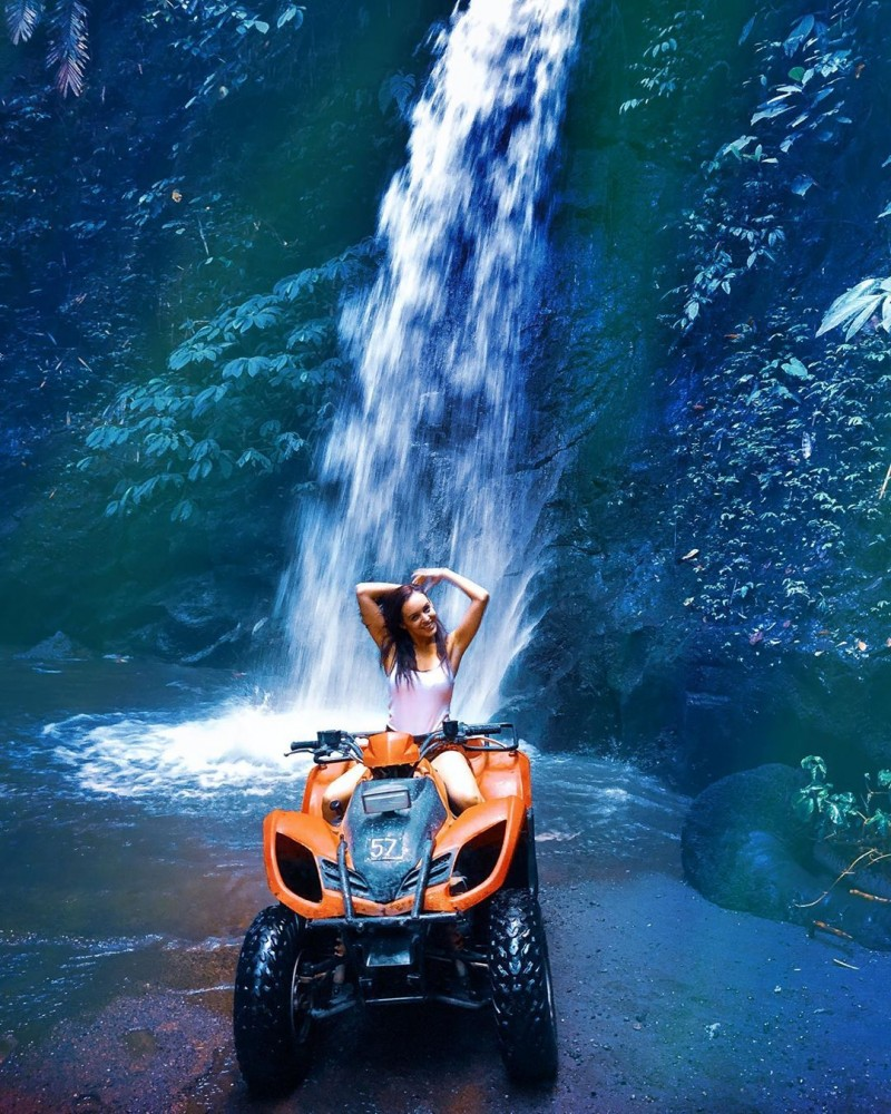 ATV Adventure along Bali Forest with waterfall