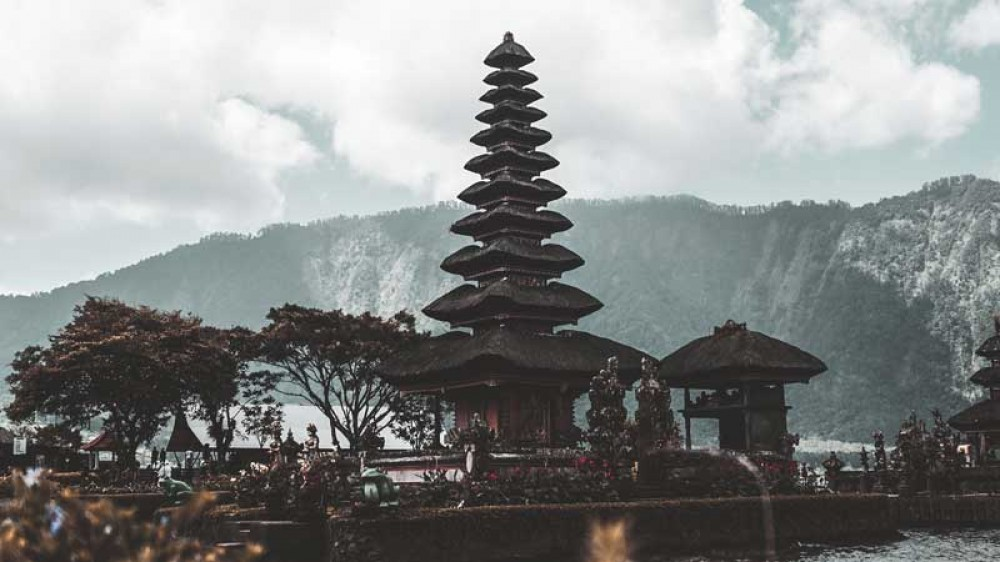 Unique Balinese Temple with Hilly Backdrop