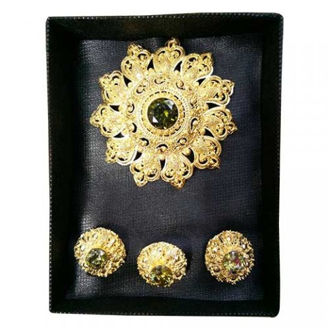 1 Set Perhiasan Alpaka Elegan Warna Hijau