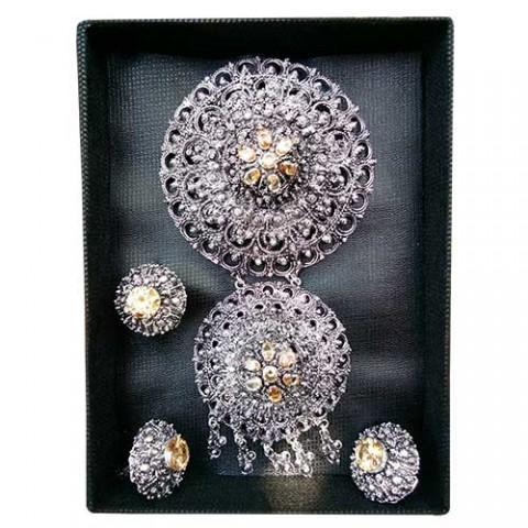 1 Set Perhiasan Alpaka Elegan Warna Peach