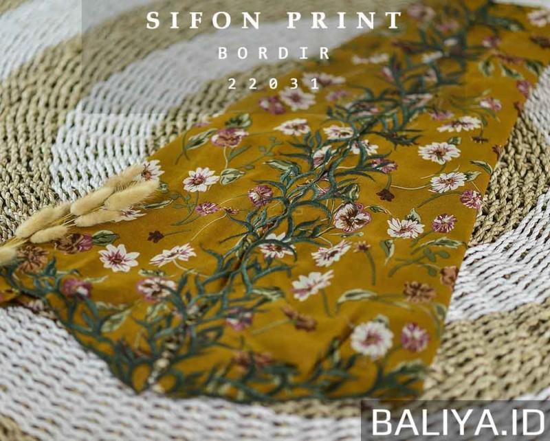 Bahan Kebaya Sifon Print Tepi Bordir Premium