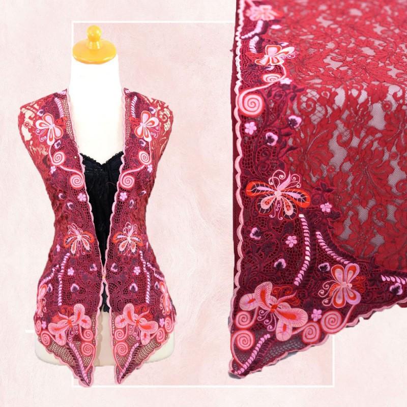 Brokat Bordir premium Warna Merah