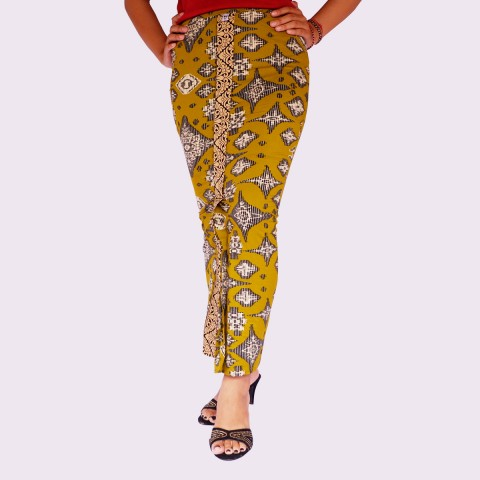 Kamen Jadi Denim Khas Bali Warna Kuning Cerah
