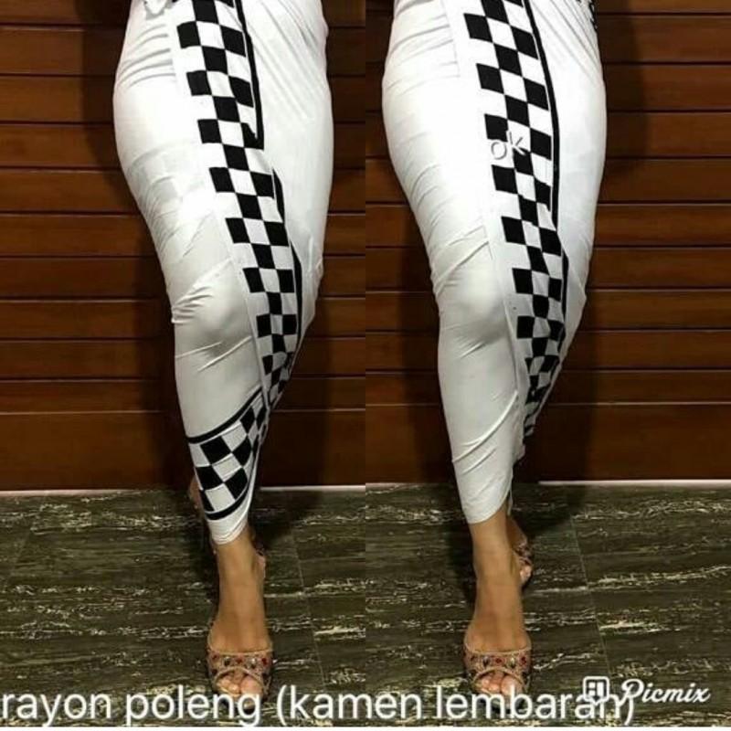 Kamen Rayon motif catur warna Putih