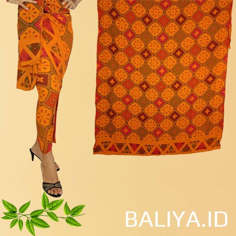 Kamen lembaran rayon set selendang warna orange motif kura kura