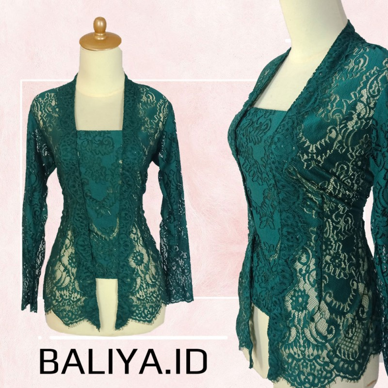 Kebaya modern model bet warna tosca