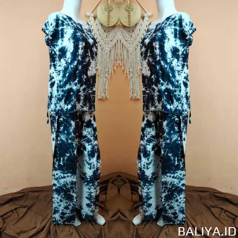 Piyama Set Wanita Motif Tie-Dye