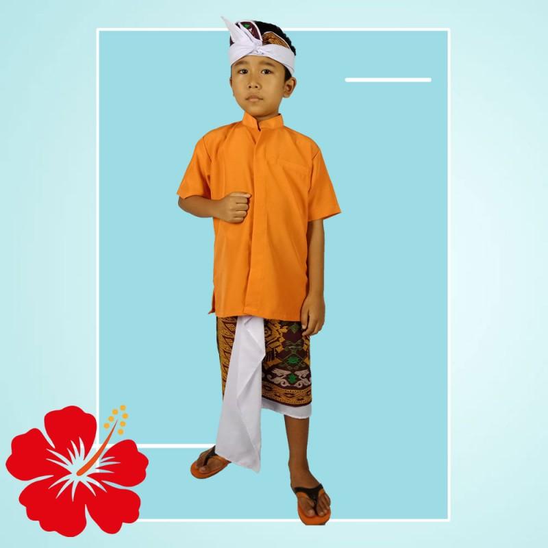 Set Kamen Jadi Udeng dan Baju Safari Anak Laki Laki
