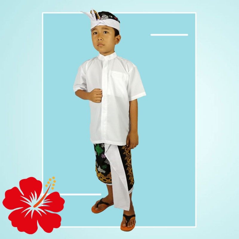 Set Pakaian Adat Anak Bali Warna Putih