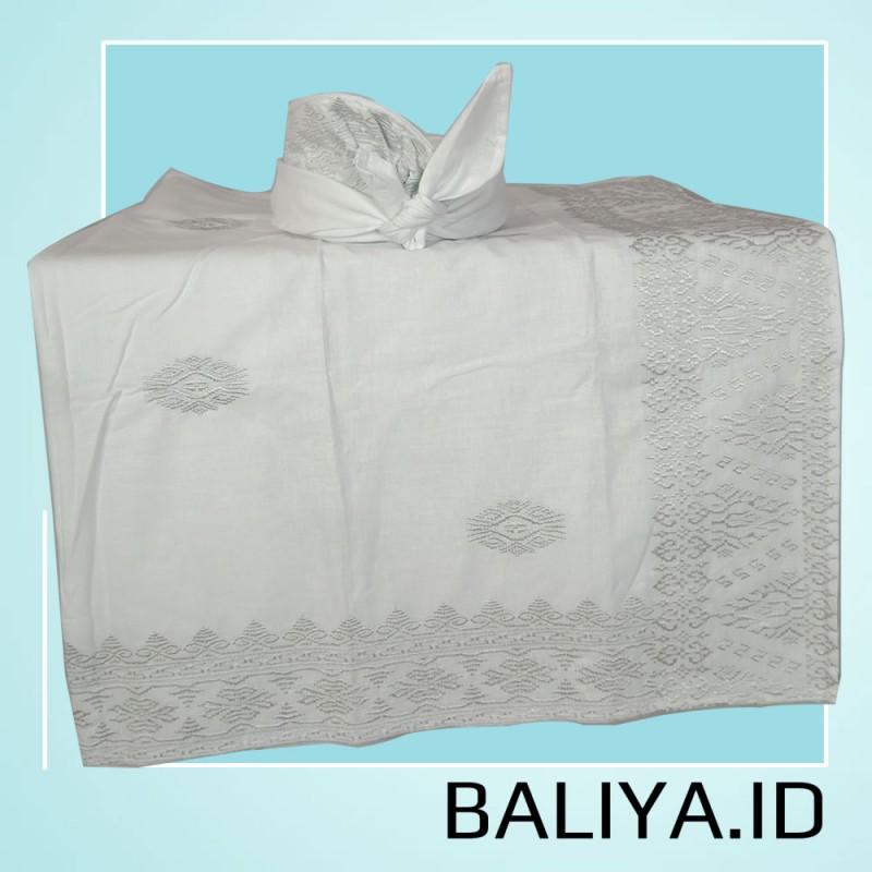Set Saput Udeng Bordir Premium Warna Putih