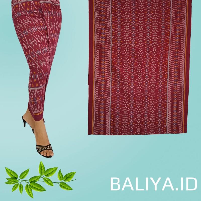 Tenun Endek Bali warna Merah motif anggrek