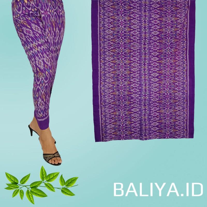 Tenun Endek Bali warna Ungu motif Anggrek