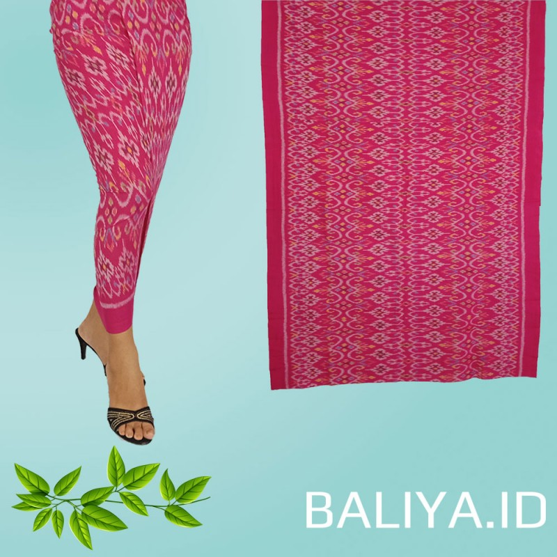 Tenun Endek Bali warna pink motif anggrek
