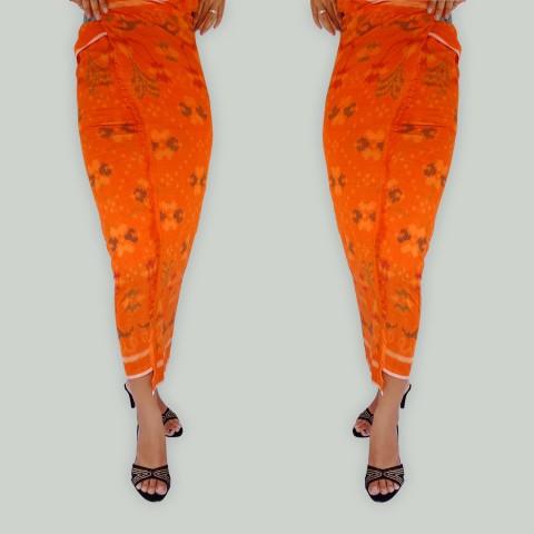 Tenun Lembaran Endek Khas Bali Warna Orange