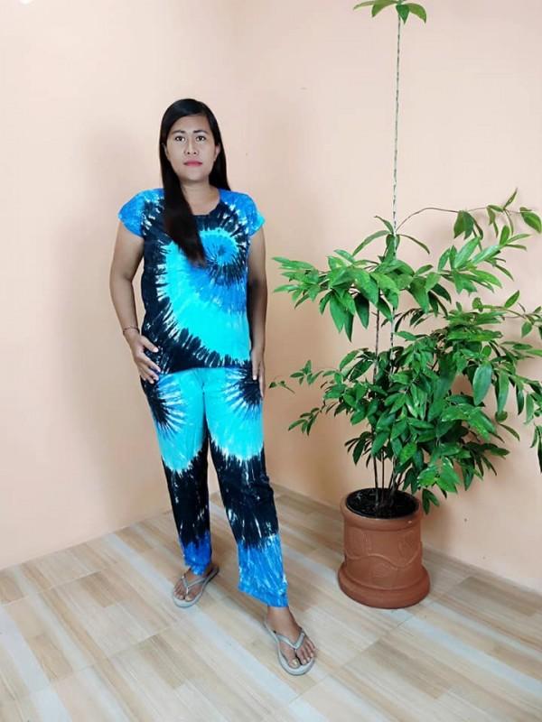 Baju tidur piyama panjang :Baby doll Panjang motif Kain pantai