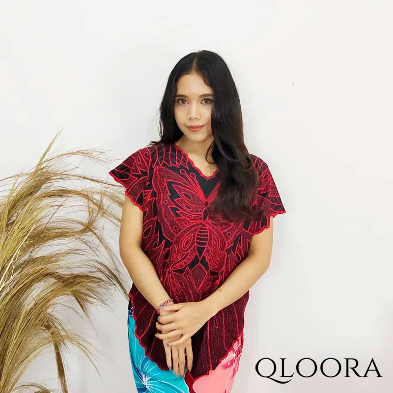 Baju Atasan Wanita Bordir Motif Kupu-Kupu