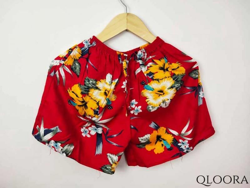 Celana Pendek Bahan Rayon Motif Bunga