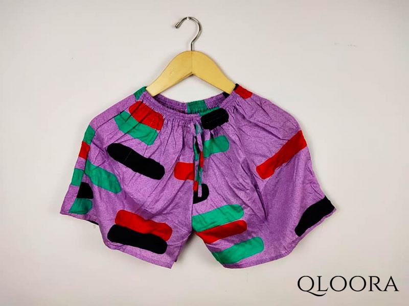Celana Pendek Wanita Sehari-Hari Motif Balok