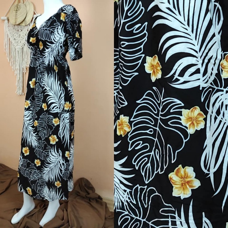 Daster Bali Model Zara Motif Daun Kelapa