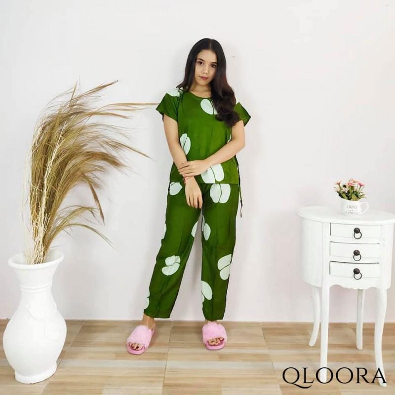 Piyama Set Wanita Motif Kopi