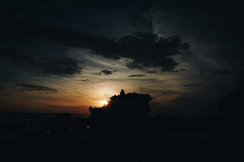 Beautiful Sunset with Temple Silhouette at Tanah Lot