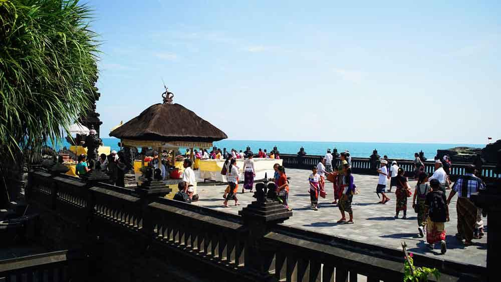 Balinese Hindus at Tanah Lot Temple Bali