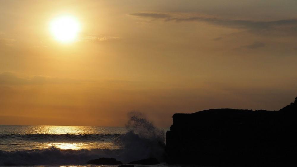 Sunset Moment on Tanah Lot Sea