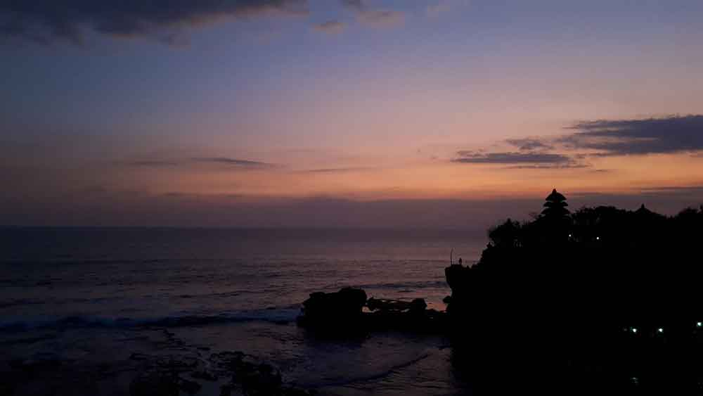 Sunset View and Silhouette of Tanah Lot Temple