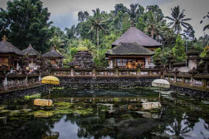 Pemandangan Kolam di Pura Tirta Empul