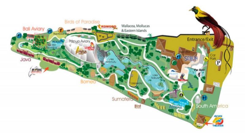 Peta Taman Burung Bali Bird Park