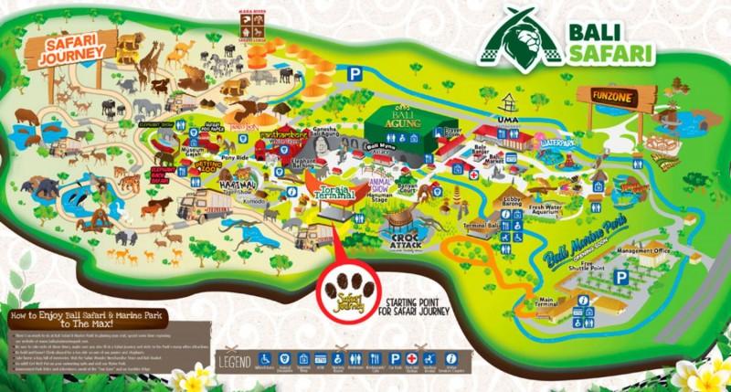 Peta Taman Safari Bali and Marine Park