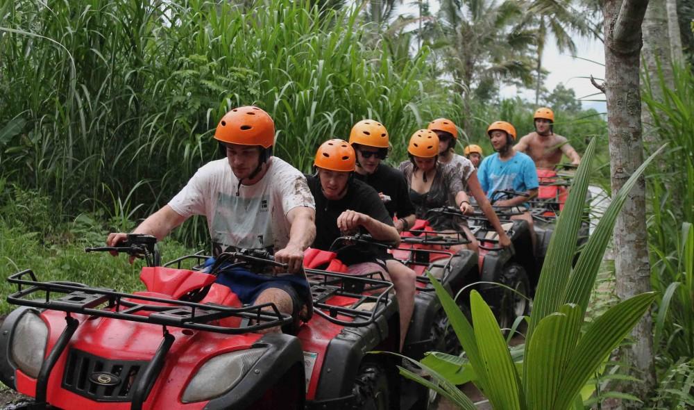 A line of rider on Bali Quad Bike