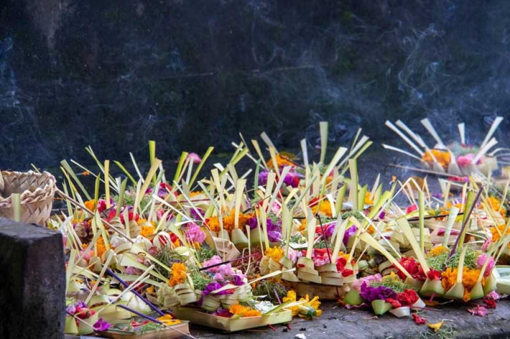Balinese Offerings at Tirta Empul Temple