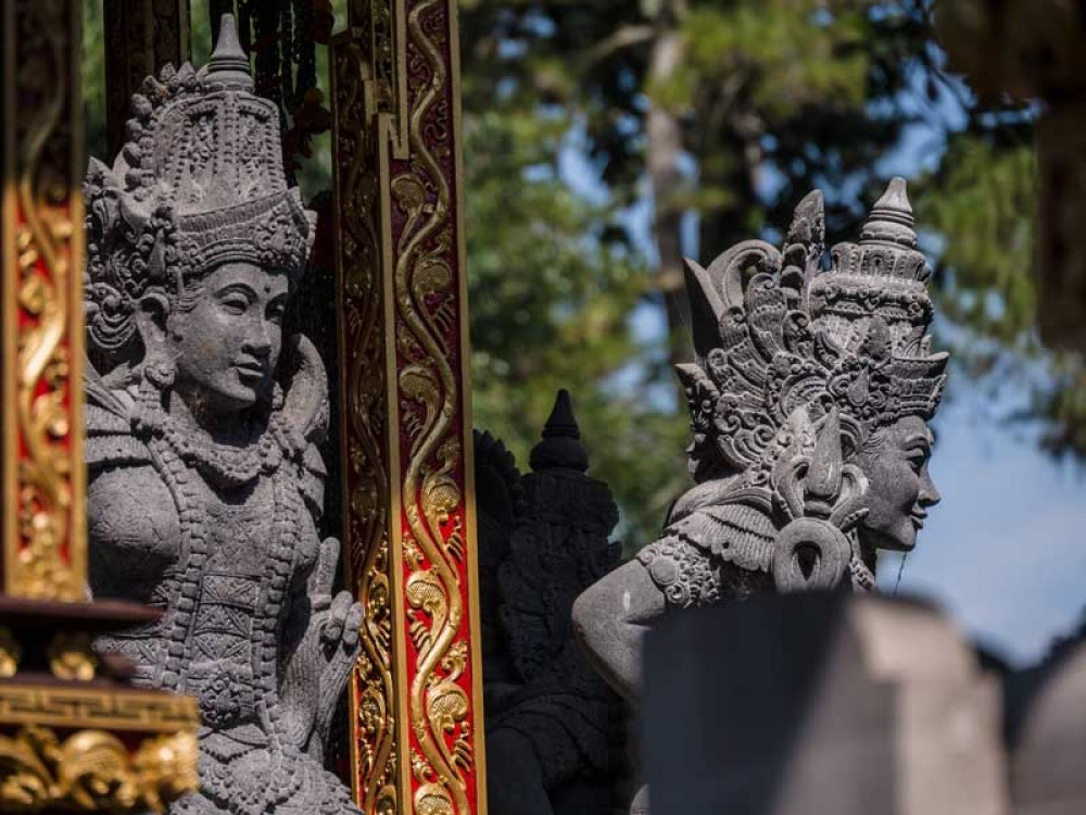 Balinese Traditional Statues at Tirta Empul